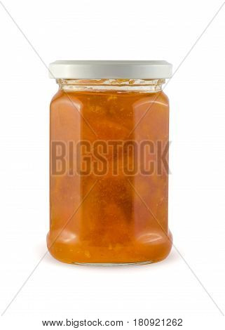 Apricot or peach jam in glass jar isolated with clipping path.