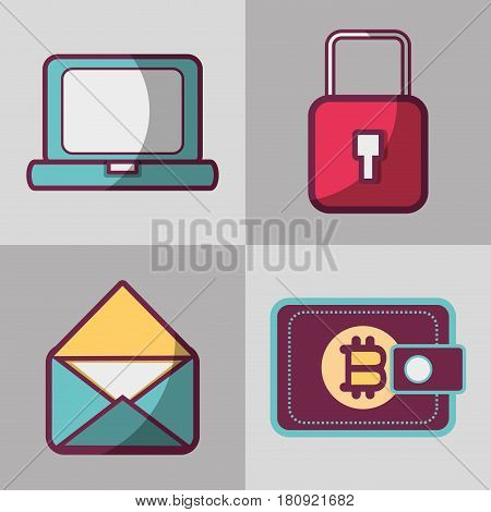 color set icon bitcoin money currency, vector illustration