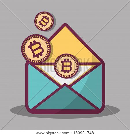 color message icon and bitcoin money currency, vector illustration
