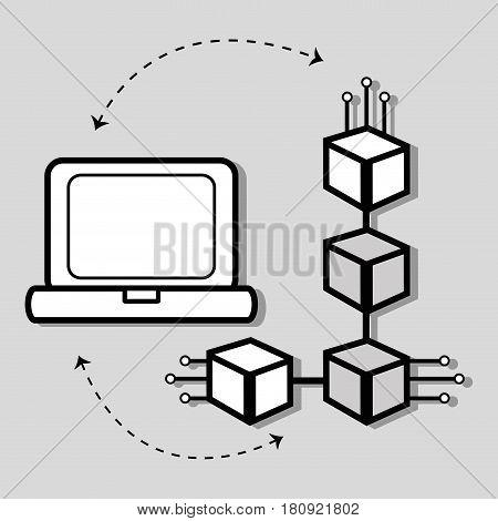 concept line icon computer internet connection, vector illustration