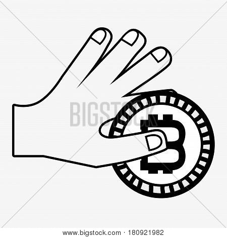 line icon hand and bitcoin money currency, vector illustration