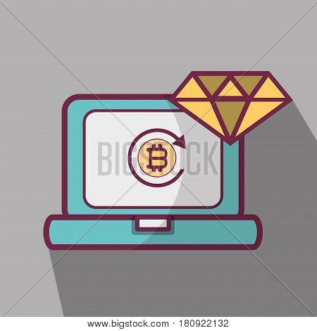line icon computer bitcoin money currency, vector illustration