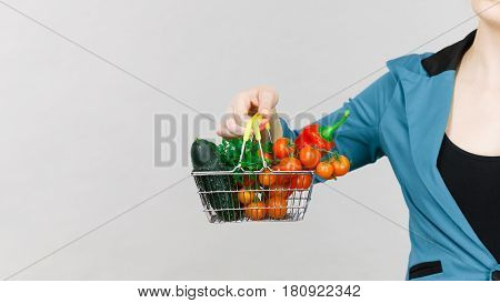 Woman Hand Holds Shopping Basket With Vegetables