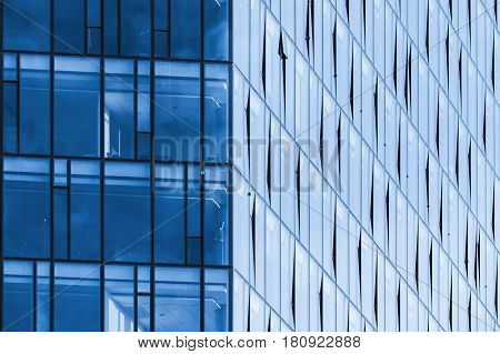 Modern Office Building Corner, Blue Glass And Steel