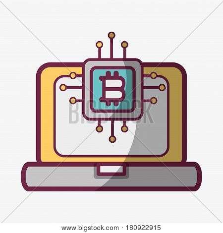 line icon computer circuit bitcoin money currency, vector illustration