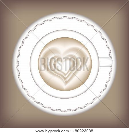 A Cup of coffee. Vector illustration of hot cappuccino with a picture. latte art