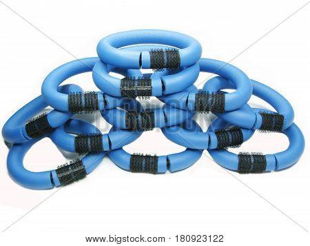 blue flexible hair rollers in heap set