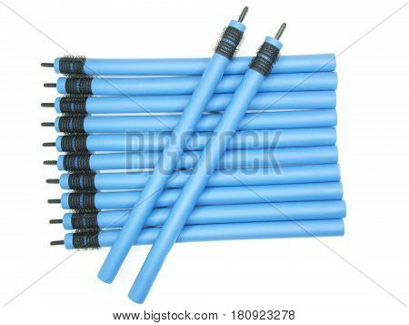 collection of blue hair rollers set for coiffure