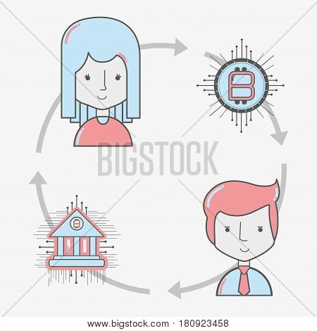 concept people connected bitcoin money currency, vector illustration