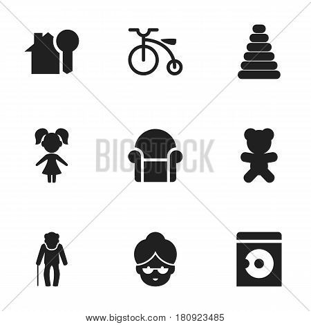 Set Of 9 Editable Kin Icons. Includes Symbols Such As Toy, Grandma, Grandpa. Can Be Used For Web, Mobile, UI And Infographic Design.