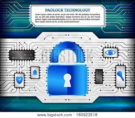 Digital technology concept of background with padlock hacker bug shield key and eye. Circuit board background. Hi-tech electronic wires. Abstract information security. Modern safety digital background.
