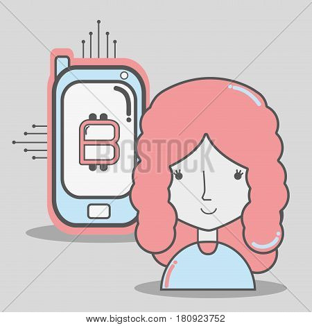color concept woman connected with bitcoin money currenconnected cy, vector illustration