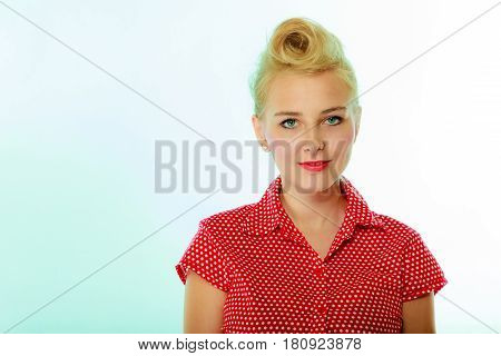 Retro Pin Up Girl With Vintage Hairstyle
