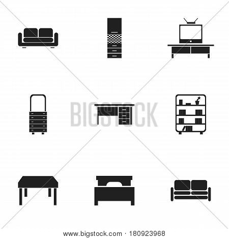 Set Of 9 Editable Home Icons. Includes Symbols Such As Bookshelf, Stillage, Material Cupboard And More. Can Be Used For Web, Mobile, UI And Infographic Design.