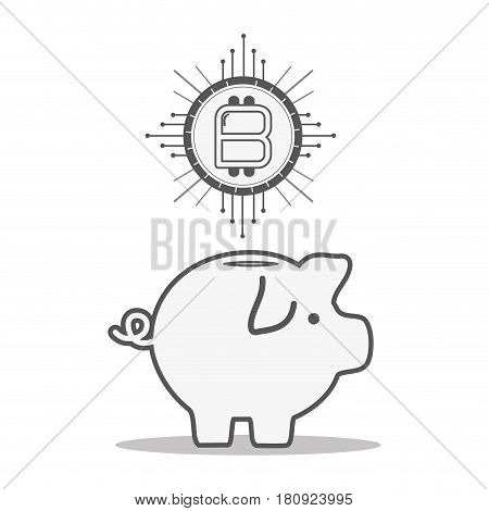 line pig icon circuit bitcoin money currency, vector illustration