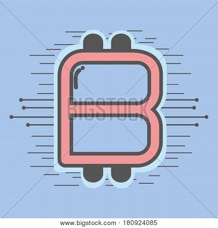 color symbol icon circuit bitcoin money currency, vector illustration