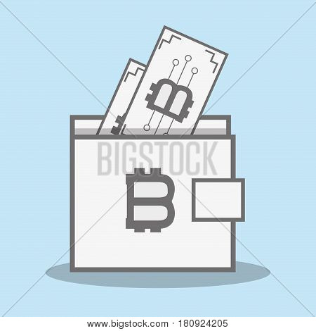 color wallet icon and bitcoin money currency, vector illustration