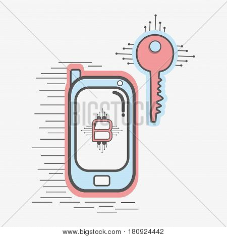 color smartphone icon and key circuit bitcoin money currency, vector illustration