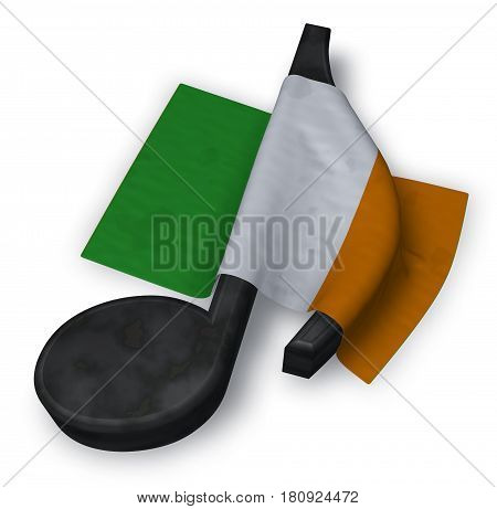 music note and flag of ireland - 3d rendering