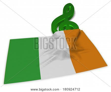 clef symbol and flag of ireland - 3d rendering