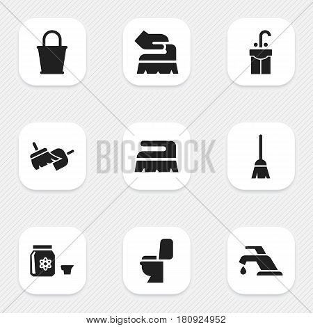 Set Of 9 Editable Cleaning Icons. Includes Symbols Such As Broomstick, Sink, Restroom And More. Can Be Used For Web, Mobile, UI And Infographic Design.