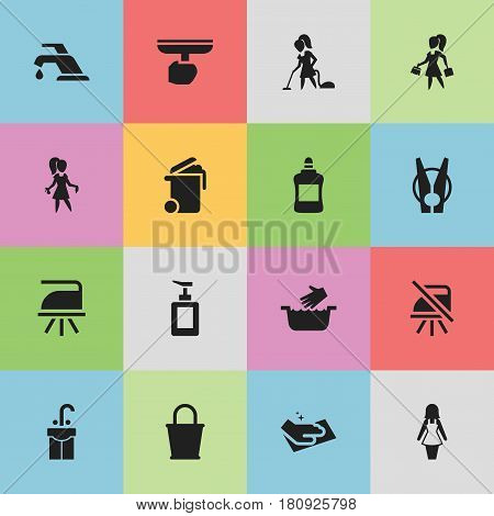 Set Of 16 Editable Cleaning Icons. Includes Symbols Such As Sink, Faucet, Chores And More. Can Be Used For Web, Mobile, UI And Infographic Design.