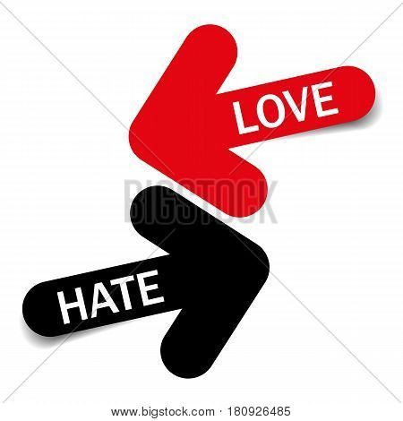 Love and Hate, Two color arrows with shadow on white background