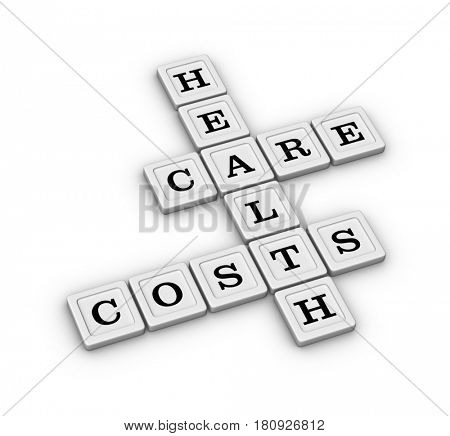 Health care costs crossword puzzle, Health insurance concept. 3D illustration isolated on white background.