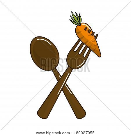 spoon and fork with organic carrot vegetable, vector illustration