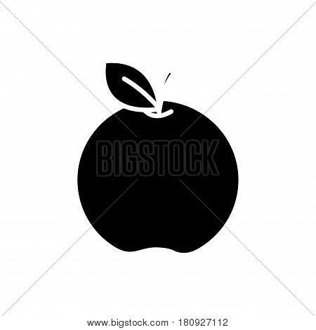 black contour apple fruit icon stock, vector illstration design image