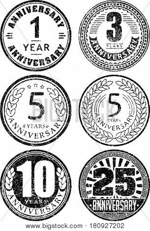 Set Of Six Anniversary Designs In Rubber Stamp Style. There Are 1, 3, 5, 10, 25 Years Icons.