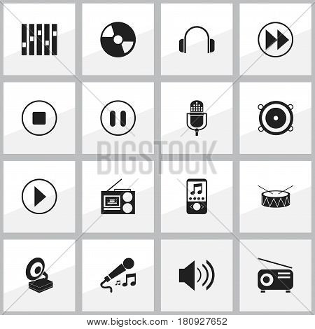 Set Of 16 Editable Sound Icons. Includes Symbols Such As Phonograph, Microphone, Snare And More. Can Be Used For Web, Mobile, UI And Infographic Design.