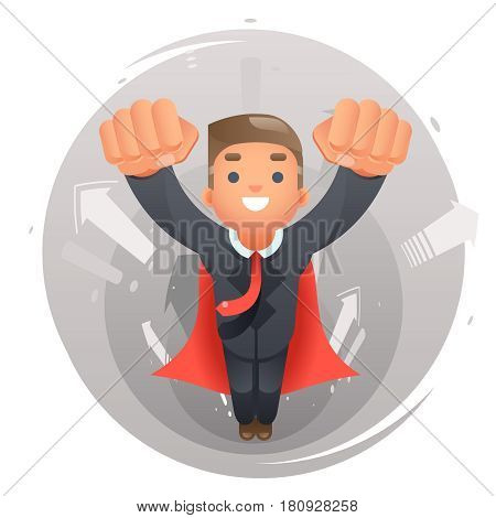 Flying happy cute superhero businessman character growth success infographic arrows background design vector illustration