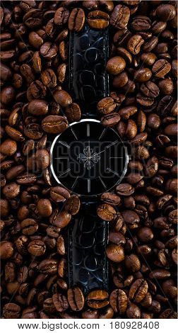 watch in coffee beans time clock reflaction morning conceptideas creative photography deadline dreams fantasy