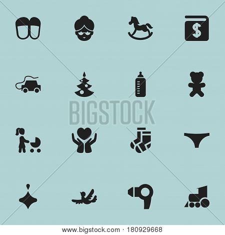 Set Of 16 Editable Folks Icons. Includes Symbols Such As Save Love, Hairdryer, Perambulator And More. Can Be Used For Web, Mobile, UI And Infographic Design.