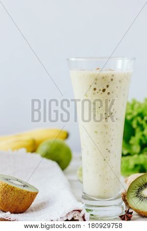 Vegan Drink - Smothie Made From Fresh Ginger And Fruits.