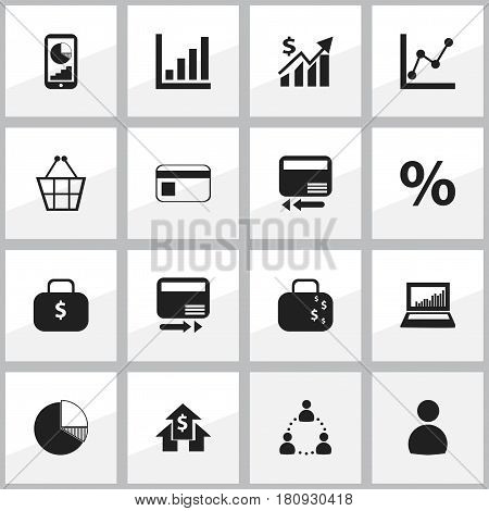 Set Of 16 Editable Analytics Icons. Includes Symbols Such As Transmission, Pay Redeem, Circle Diagram And More. Can Be Used For Web, Mobile, UI And Infographic Design.