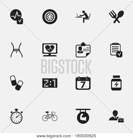 Set Of 16 Editable Complicated Icons. Includes Symbols Such As Identification, Chronometer, Biceps And More. Can Be Used For Web, Mobile, UI And Infographic Design.