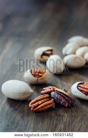 Pecan Nuts On Table