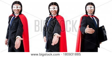 Man wearing red clothing in funny concept