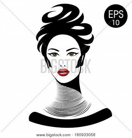 Vector Woman with red lips and long neck for your design