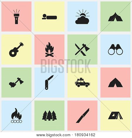 Set Of 16 Editable Travel Icons. Includes Symbols Such As Fever, Voyage Car, Knife And More. Can Be Used For Web, Mobile, UI And Infographic Design.