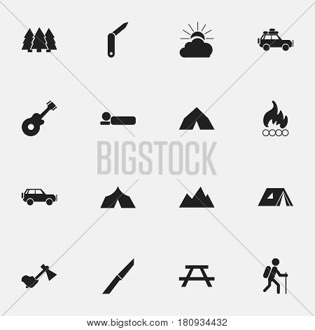 Set Of 16 Editable Camping Icons. Includes Symbols Such As Sport Vehicle, Clasp-Knife, Bedroll And More. Can Be Used For Web, Mobile, UI And Infographic Design.