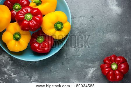 Red bell pepper and yellow bell pepper top view