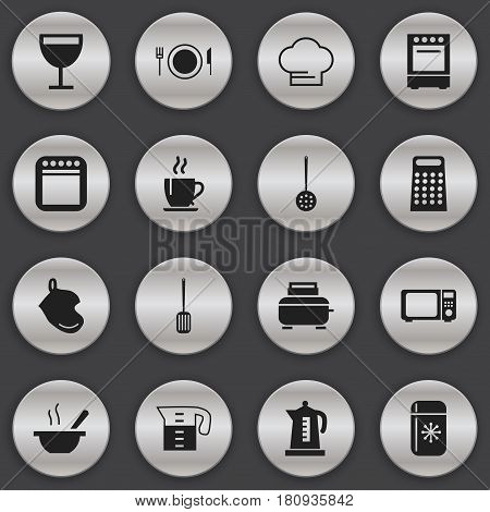 Set Of 16 Editable Restaurant Icons. Includes Symbols Such As Water Jug, Toaster, Cooker And More. Can Be Used For Web, Mobile, UI And Infographic Design.