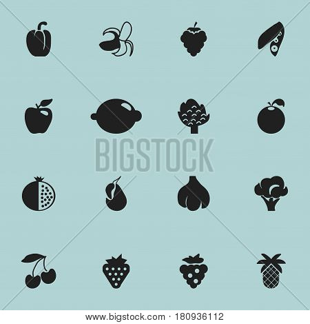 Set Of 16 Editable Dessert Icons. Includes Symbols Such As Lime, Garlic, Bunch Of Flowers And More. Can Be Used For Web, Mobile, UI And Infographic Design.