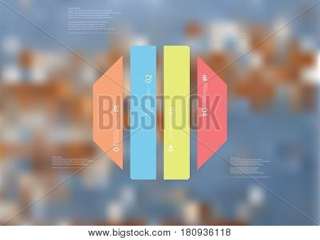 Illustration infographic template with motif of octagon vertically divided to four standalone color sections. Blurred photo with texture motif of worn wooden board is used as background.