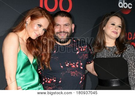 LOS ANGELES - APR 8:  Darby Stanchfield, Katie Lowes, Guillermo Diaz at the