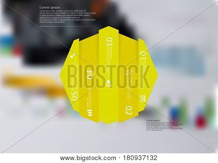 Illustration infographic template with motif of octagon vertically divided to five shifted yellow sections. Blurred photo with financial motif with charts and calculator is used as background.
