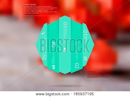 Illustration infographic template with motif of octagon vertically divided to five shifted green sections. Blurred photo with natural motif with red blooms is used as background.